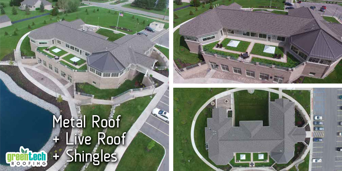 Metal Roof with Live Roof and Shingles